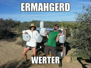 Carrot and I at a water cache - - couldn't be happier!