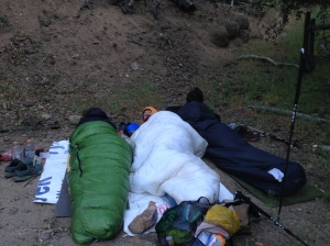 Zpacks sleeping bag in Green, Ray Way sleeping quilt in White.
