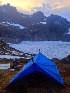 The Ray Way Tarp - poorly set up next to Micah Lake in Washington