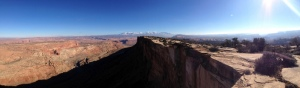 Cliffs over Moab on our first day out.  The La Sal mountains to the east.
