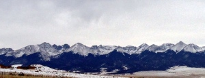 View from Westcliffe.  Humboldt Peak the highest mountain in the far left, just next to the Crestone's, which are a shade darker in this photo.
