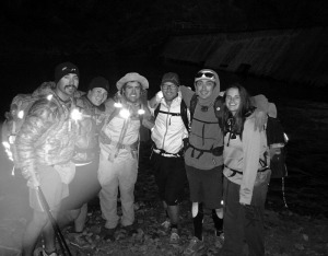 Myself, Snorkel, Nathan, Bigfoot, Cactus and Aroo at the true start of the HLCT.  The diversion of the water is behind us in the dark.