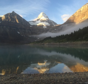 Morning Mist.  Lake Magog and Mt. Assiniboine