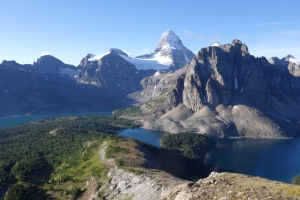 Climbing the Nub, views back of Sunburst & Magog Lakes, and Assiniboine