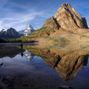 Andy got this photo of me with Mt. Assiniboine on Sunburst Lake