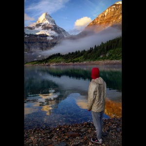 Handy Andy in the morning with Lake Magog and Assiniboine